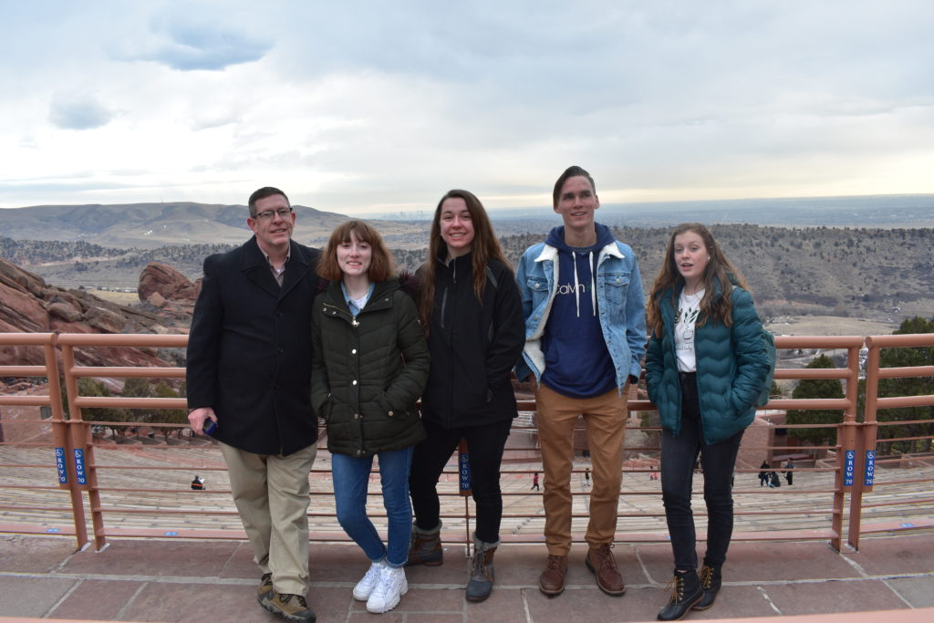 one adult and four youth in Colorado on a 4-H trip