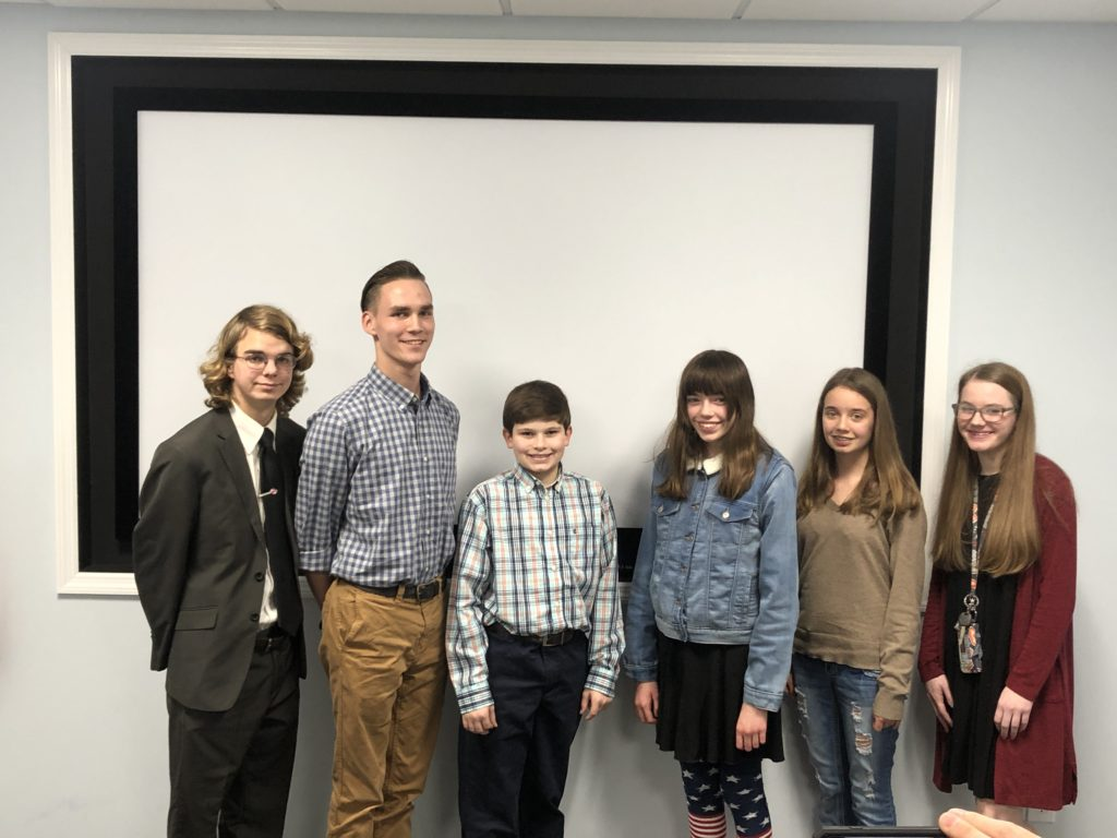 6 youth who participated in the local public speaking contest